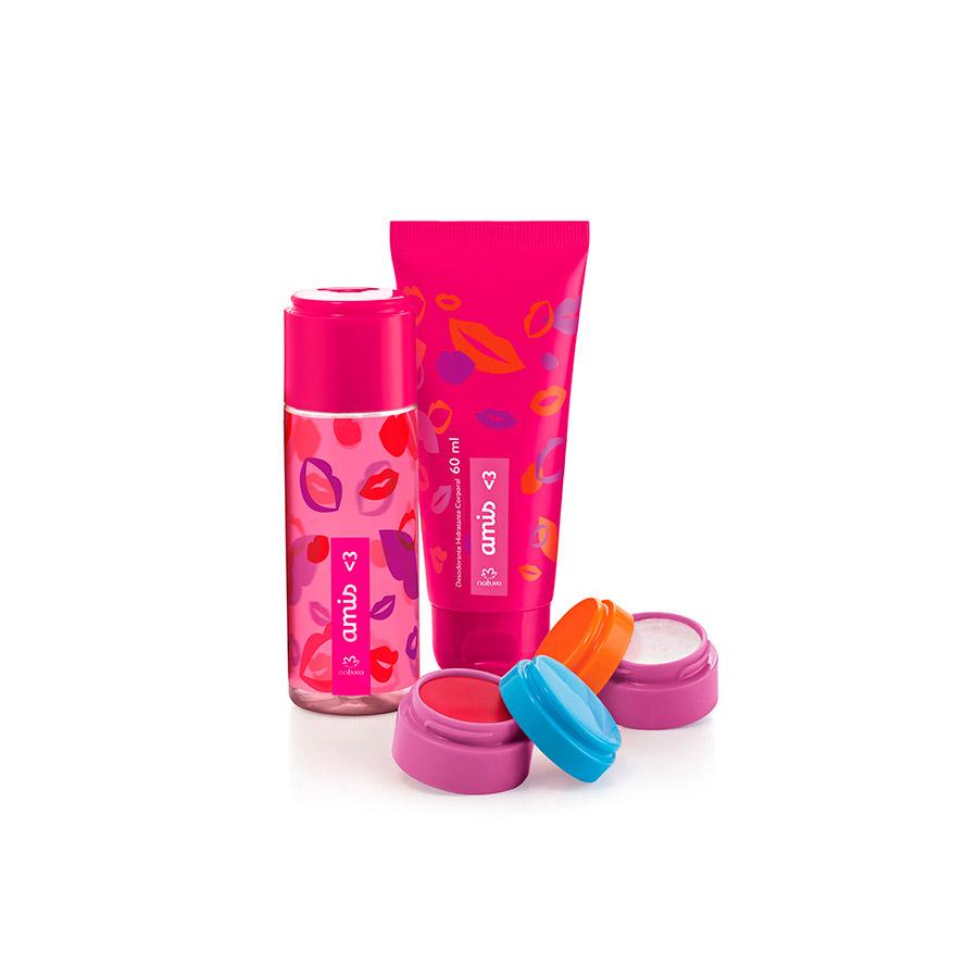 Presente Natura Amis - Desodorante Colônia + Balm Labial + Glitter Iluminador + Desodorante Hidratante + Embalagem Desmontada - 56535