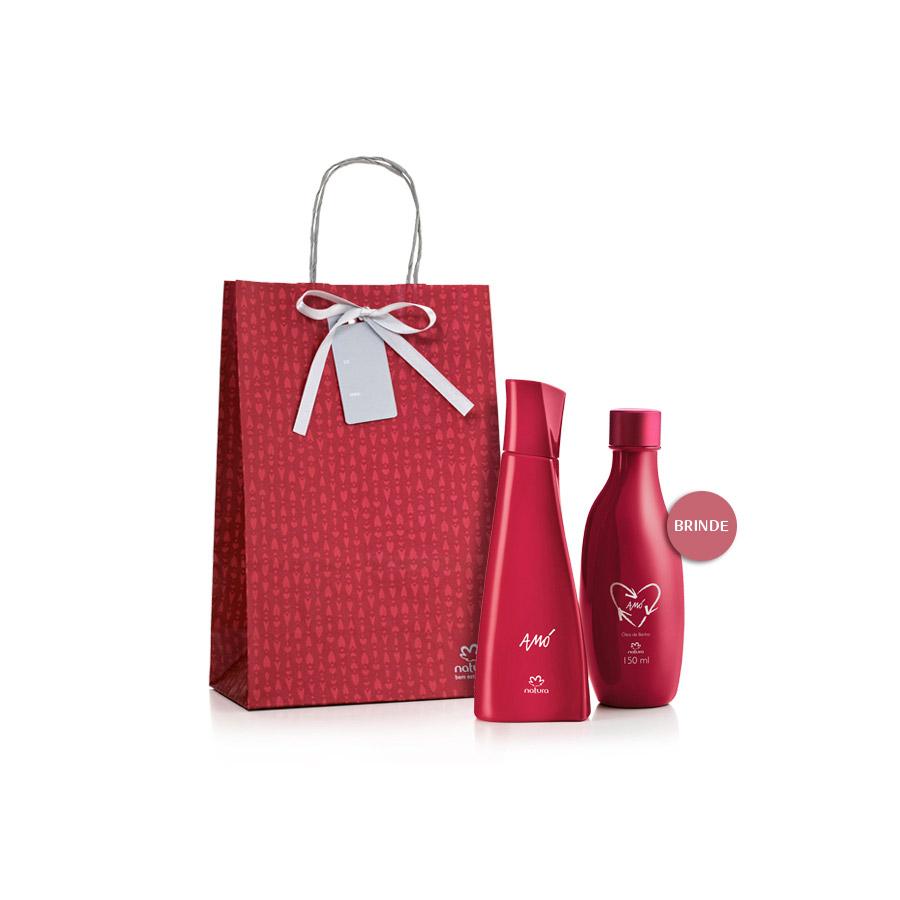 Presente Natura Amó Feminino - Desodorante Colônia + Óleo de Banho + Embalagem - 59071