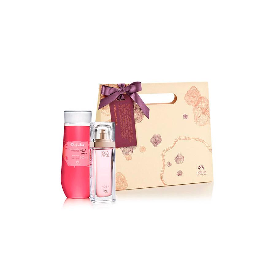 Presente Natura - Deo Parfum Esta Flor Rosa + Sabonete Líquido Tododia Frutas Vermelhas + Embalagem - 67836