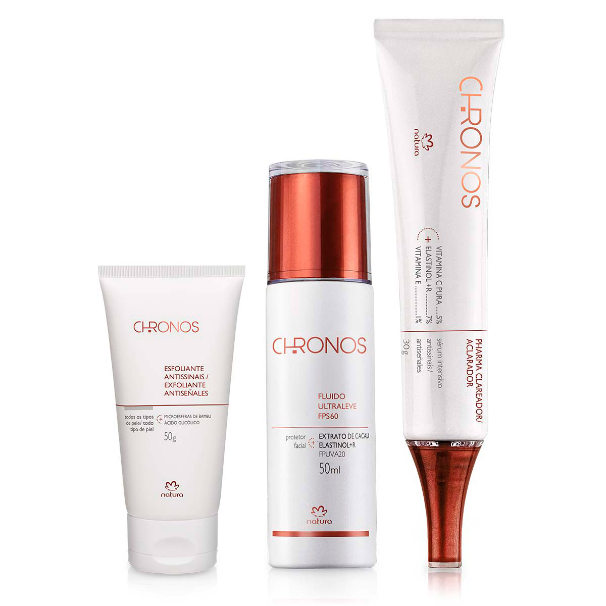 Sistema de Clareamento Chronos - Fluido Protetor Facial + Pharma Gel Clareador + Esfoliante Antissinais - 67924