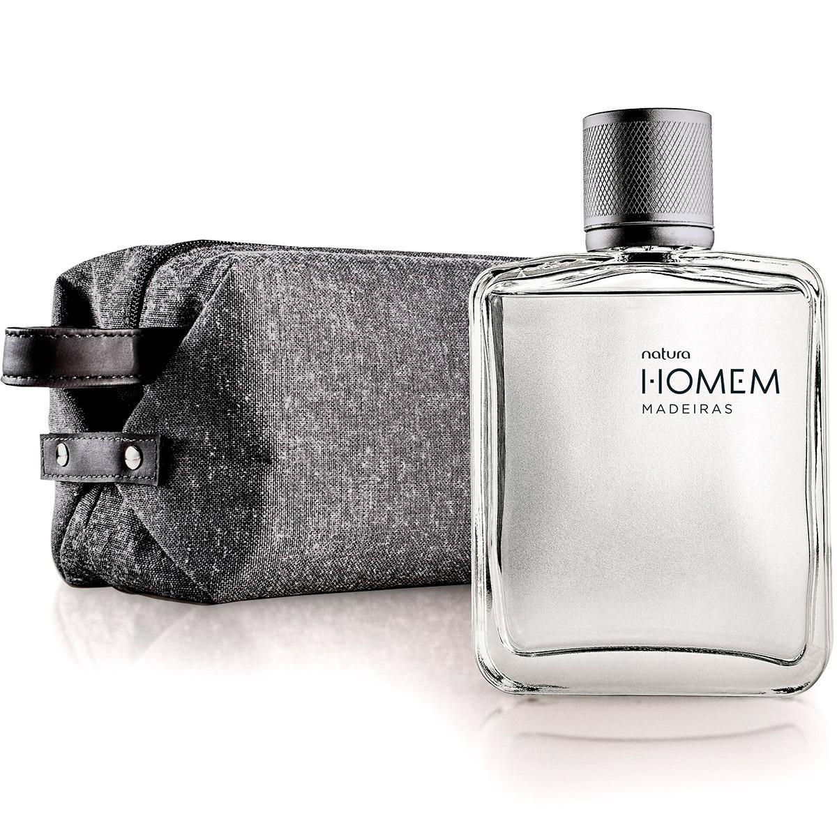 Presente Natura Homem Madeiras - Desodorante Colônia + Nécessaire + Embalagem - 77958