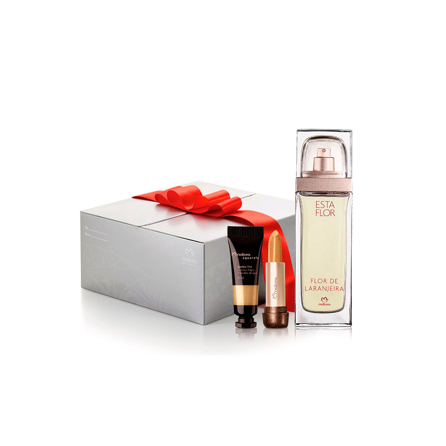 Presente Natura - Deo Parfum Esta Flor Flor de Laranjeira + Batom Dourado + Sombra Tint Dourado + Embalagem - 78009