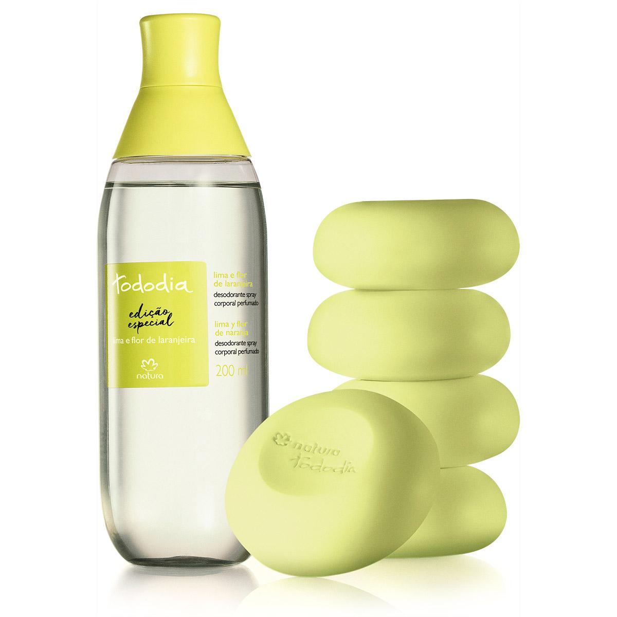 Combo Verão Tododia Lima e Flor de Laranjeira - Desodorante Colônia Spray Corporal + Sabonetes em Barra - 78462