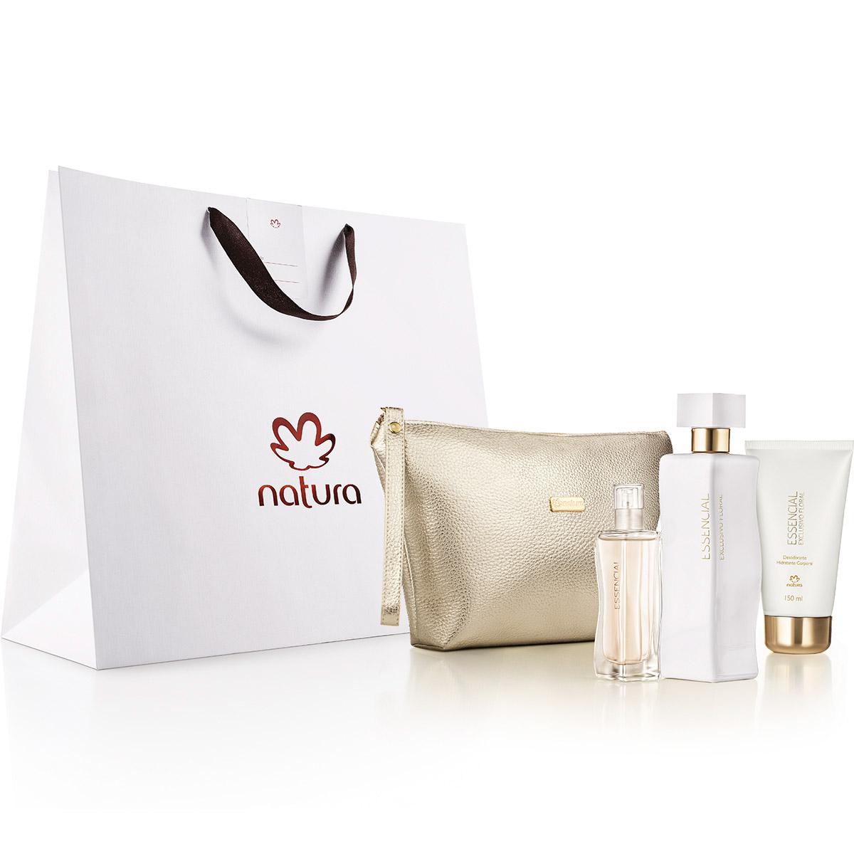Presente Natura Essencial Exclusivo Floral Feminino com Bolsa Clutch - 82540
